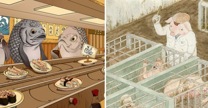 22 Illustrations Show What Life Would Be Like If Animals Did to Us What We Do to Them