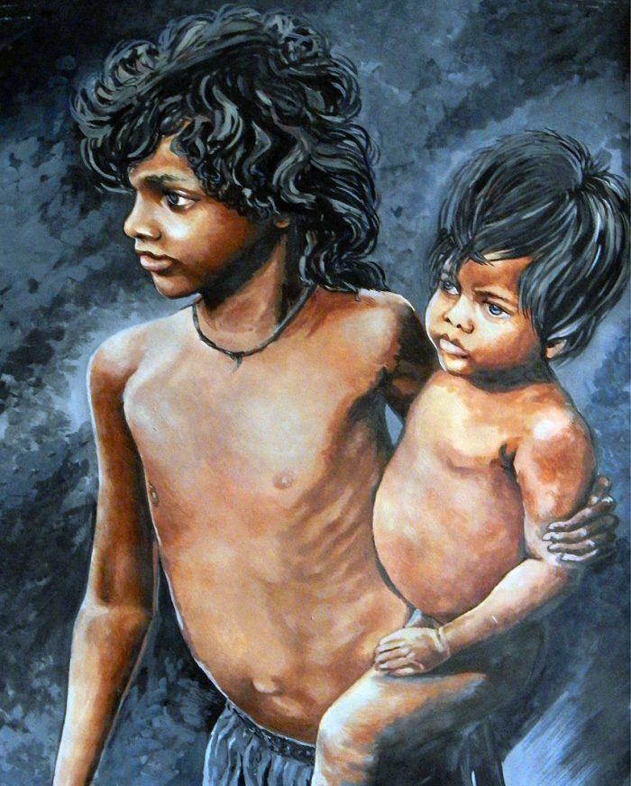 poor children painting